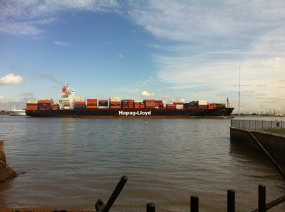 Meanwhile it's business as usual in the UK's second biggest port as container ship Dublin Express leaves Tilbury