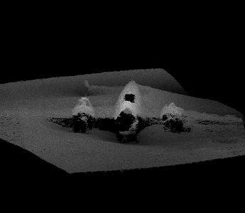 Sonar scan of the Dornier on the sand